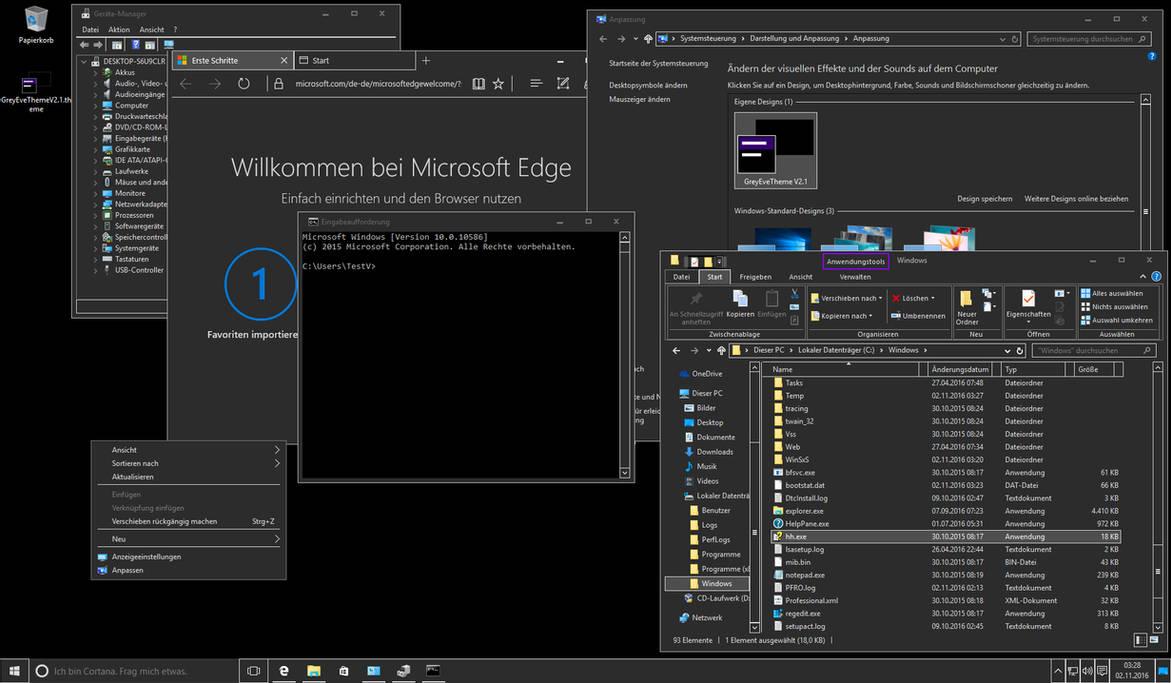 GreyEve Windows 10 Dark Theme