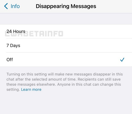 WhatsApp 24 hours disappearing messages