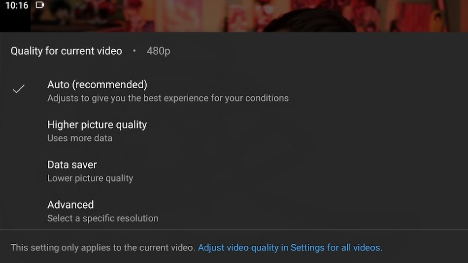 YouTube New Quality Options