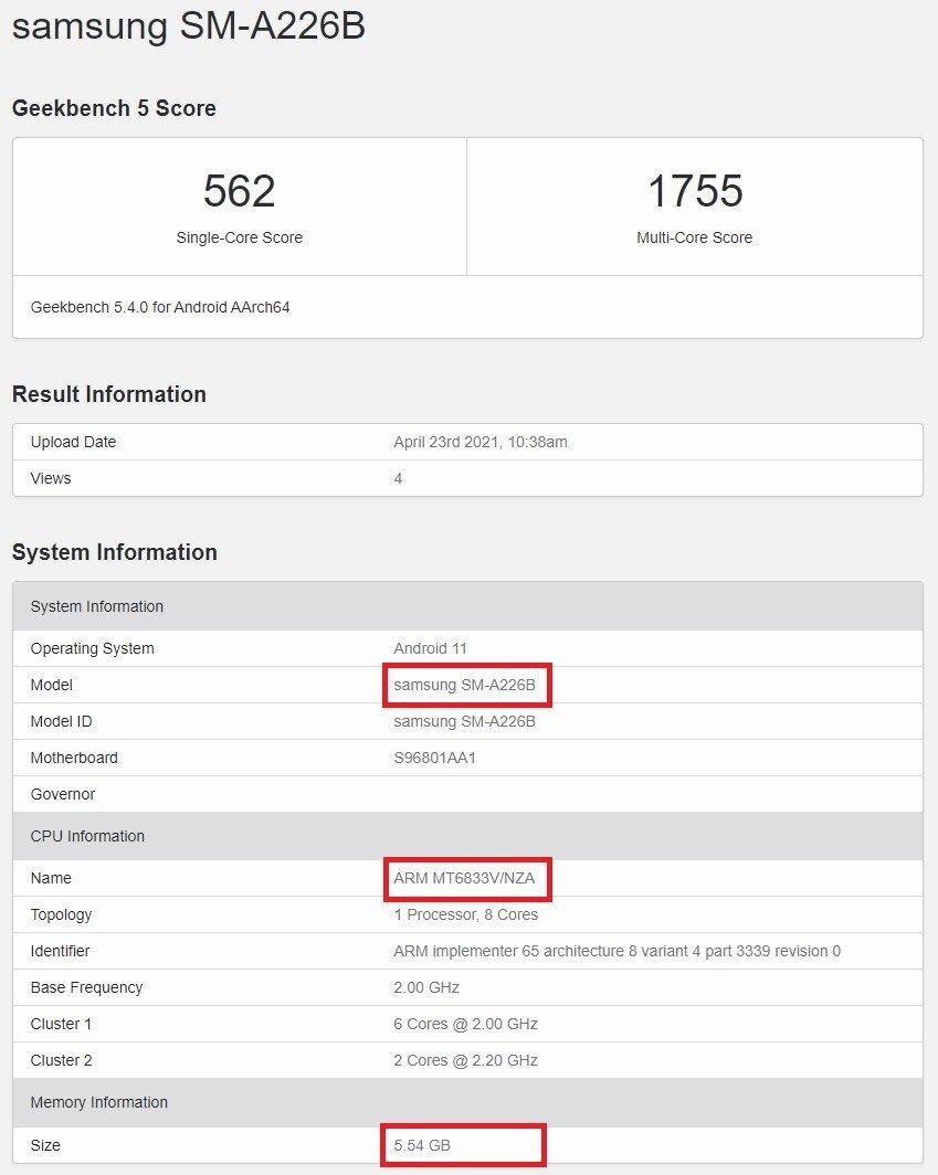 Galaxy A22 Geekbench Score