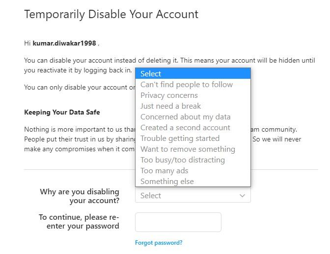 Instagram Disable Account